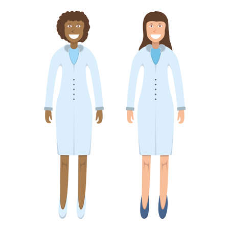 Character doctor standing isolated on white, flat vector illustration. Human male and female important physician professional activity, smiling people profession, social occupation.