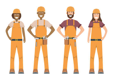 Character workman standing isolated on white, flat vector illustration. Human male and female important hard worker professional activity, smiling people profession, social occupation.