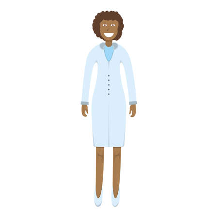 Character doctor standing isolated on white, flat vector illustration. Human female important physician professional activity, smiling people profession, social occupation.