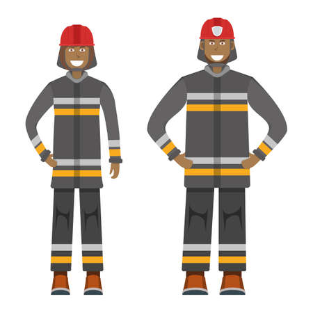 Character fireman standing isolated on white, flat vector illustration. Human male and female important firefighter professional activity, smiling people profession, social occupation. Illustration