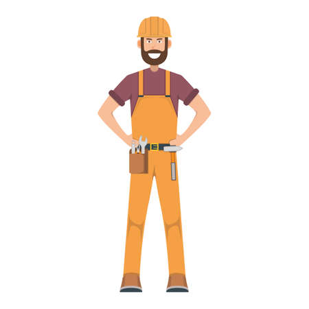 Character workman standing isolated on white, flat vector illustration. Human male important hard worker professional activity, smiling people profession, social occupation.