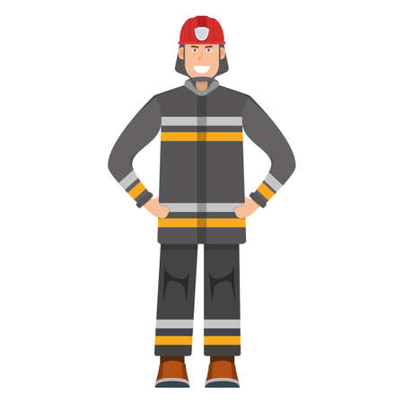 Character fireman standing isolated on white, flat vector illustration. Human male important firefighter professional activity, smiling people profession, social occupation.