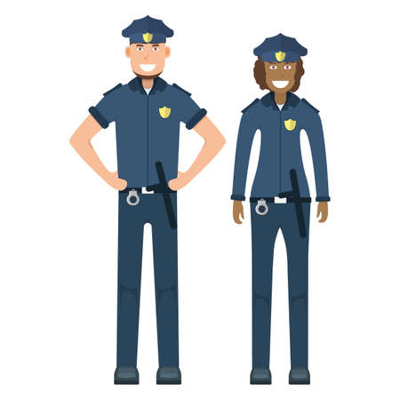 Pair character policeman standing isolated on white, flat vector illustration. Human female and male important professional activity, smiling people profession, social occupation.