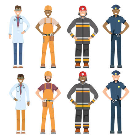 Character doctor, policeman, worker, firefighter standing isolated on white, flat vector illustration. Human male important professional activity, smiling people profession, social occupation. Vecteurs