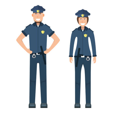 Pair character policeman standing isolated on white, flat vector illustration. Human female and male important professional activity, smiling people profession, social occupation. Standard-Bild - 152735347