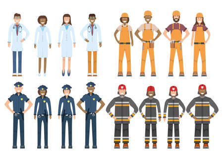 Character doctor, policeman, worker, firefighter standing isolated on white, flat vector illustration. Human male, female important professional activity, smiling people profession, social occupation. Standard-Bild - 152735348
