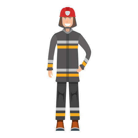 Character fireman standing isolated on white, flat vector illustration. Human female important firefighter professional activity, smiling people profession, social occupation.