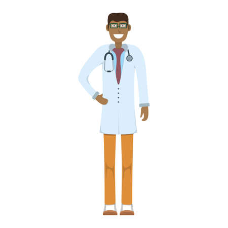 Character doctor standing isolated on white, flat vector illustration. Human male important physician professional activity, smiling people profession, social occupation.