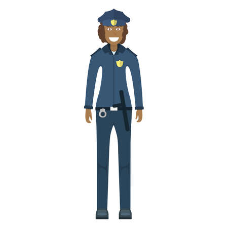 Character policeman standing isolated on white, flat vector illustration. Human female important professional activity, smiling people profession, social occupation. Standard-Bild - 152735391