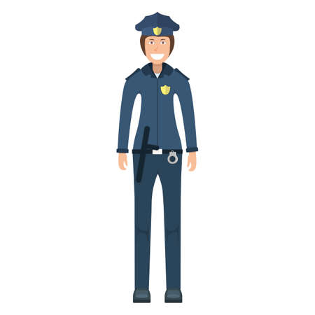 Character policeman standing isolated on white, flat vector illustration. Human female important police professional activity, smiling people profession, social occupation.