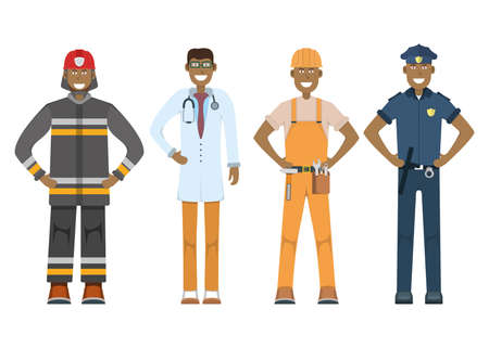 Character doctor, policeman, worker, firefighter standing isolated on white, flat vector illustration. Human male important professional activity, smiling people profession, social occupation.
