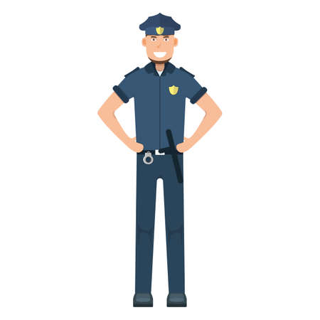 Character policeman standing isolated on white, flat vector illustration. Human male important professional activity, smiling people profession, social occupation.