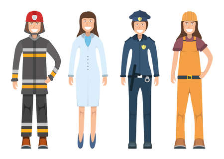 Character doctor, policeman, worker, firefighter standing isolated on white, flat vector illustration. Human female important professional activity, smiling people profession, social occupation.