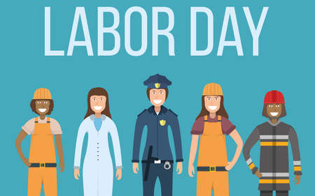 Labor day celebration, concept banner character doctor, policeman, worker, firefighter standing isolated on white, flat vector illustration. Smiling people male female important professional activity.