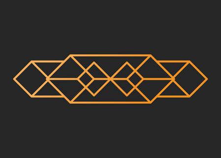 Vintage vector illustration, concept golden geometric figure line and design frame retro label. Decoration background banner, luxury elegant graphic logo. Isolated on black. Illustration