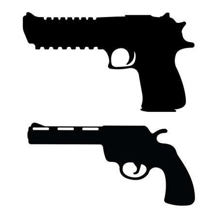Set of revolver and desert eagle pistol icon, self defense weapon, concept simple black vector illustration, isolated on white. Shooting powerful firearms handgun, gunshot instrument. Illustration