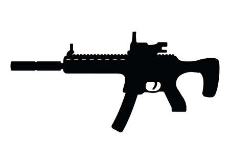 Submachine military gun with silencer, icon self defense automatic weapon concept simple black vector illustration, isolated on white. Shooting rifle, protection type of firearms.