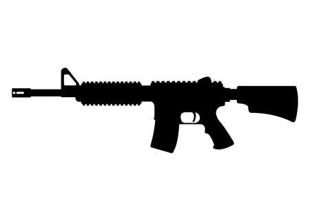 American m16 military rifle, icon self defense automatic weapon concept simple black vector illustration, isolated on white. Shooting gun, protection type of firearms.
