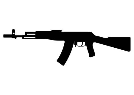 military rifle, icon self defense automatic weapon concept simple black vector illustration, isolated on white. Shooting gun, protection type of firearms. Illustration