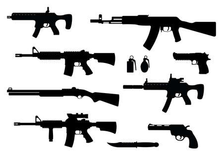 Set of weapon military rifle, revolver and desert eagle pistol, shotgun carbine, grenade, knife and submachine gun black simple icon vector illustration, isolated of white. Self defense firearms. Illustration