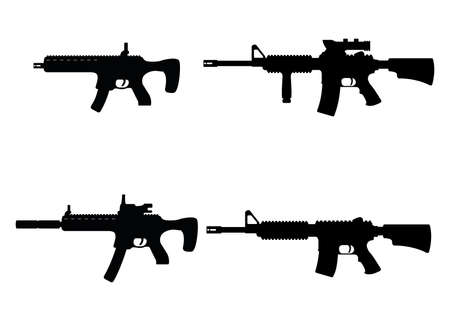 Set of submachine military gun and rifle, icon self defense automatic weapon concept black simple vector illustration, isolated on white. Shooting instrument, protection type of firearms. Illustration