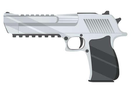Desert eagle pistol icon, self defense weapon, concept cartoon vector illustration, isolated on white. Shooting powerful firearms revolver, gunshot instrument.