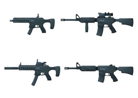 Set of submachine military gun and rifle, icon self defense automatic weapon concept cartoon vector illustration, isolated on white. Shooting instrument, protection type of firearms.