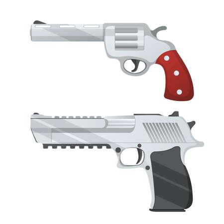 Set of revolver and desert eagle pistol icon, self defense weapon, concept cartoon vector illustration, isolated on white. Shooting powerful firearms handgun, gunshot instrument.