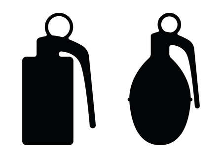 Hand offensive grenade, military ammunition explosive substance concept simple black vector illustration, isolated on white. Special unit deadly weapon.