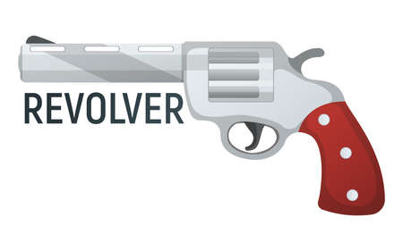 Revolver pistol icon, self defense weapon, concept cartoon vector illustration, isolated on white. Shooting powerful firearms handgun, gunshot instrument with text.