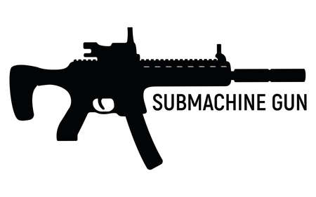 Submachine silhouette military gun with silencer, icon self defense automatic weapon concept simple black vector illustration