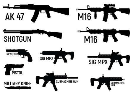 Set of silhouette weapon military rifle, revolver and pistol, shotgun carbine