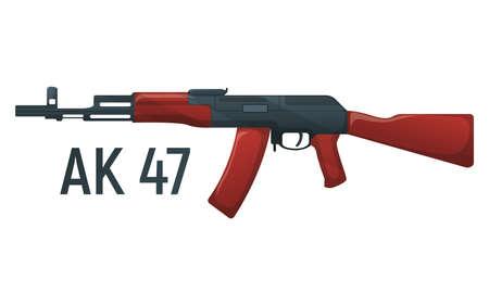Icon self defense automatic weapon concept cartoon vector illustration