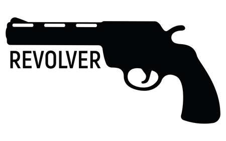 Revolver silhouette pistol icon, self defense weapon, concept simple black vector illustration Vettoriali