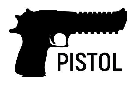 Silhouette pistol icon, self defense weapon, concept simple black vector illustration