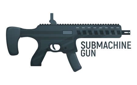 Submachine military gun, icon self defense automatic weapon concept cartoon vector illustration