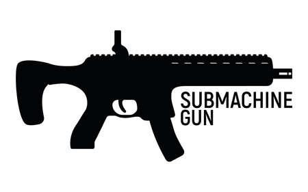 Submachine silhouette military gun, icon self defense automatic weapon concept simple black vector illustration