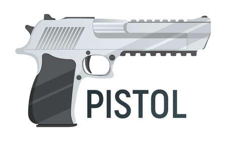 Pistol icon, self defense weapon, concept cartoon vector illustration Illustration