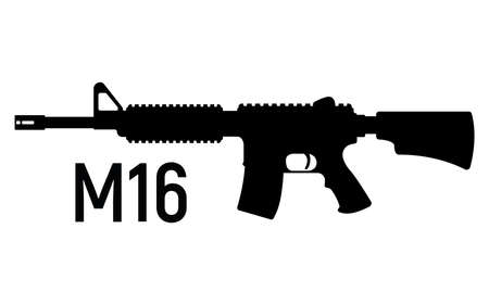 American silhouette military rifle, icon self defense automatic weapon concept simple black vector illustration