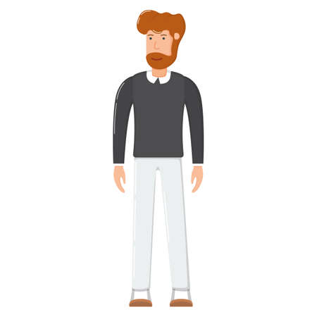 Bearded smiling male person standing, character man hipster cartoon vector illustration, isolated on white. Office worker clerk, concept modern businessman.