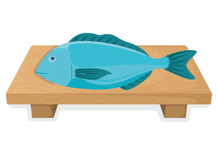 Fresh fish, cartoon style isolated on white, flat vector illustration salmon. Concept minnow seafood. Sea product for sushi, omega 3 foodstuff. Healthy meal stuff, ocean fish icon.