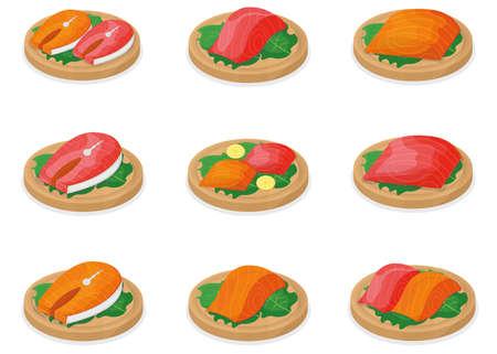 Set of piece fish tuna salmon, fresh steak tenderloin on wooden board isolated on white, cartoon vector illustration. Healthy fat seafood stuff icon food.
