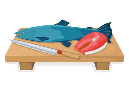 Atlantic salmon fish food concept, fresh humpback foodstuff cartoon style isolated on white, flat vector illustration. Kitchen board with sharp knife, cooking item icon, healthy meal.
