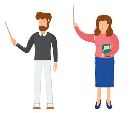 Teacher female and male character standing hold hand school wooden pointer cartoon vector illustration, isolated on white. Smiling woman with textbook, bearded man school and university professor. Illustration