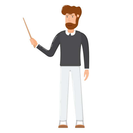Teacher male character standing hold hand school wooden pointer cartoon vector illustration, isolated on white. Bearded smiling man, school and university professor.
