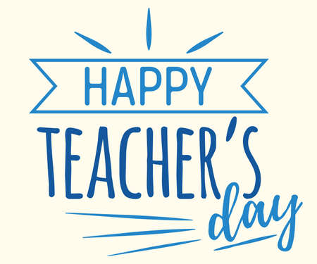 Happy teacher day concept font text quote, calligraphic inspiration celebration card flat vector illustration, sunburst decoration design. Illustration