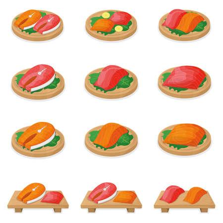Set of piece fish tuna salmon, fresh steak tenderloin on wooden board isolated on white, cartoon vector illustration. Healthy fat seafood stuff icon food. Ilustración de vector