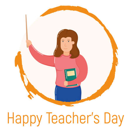 Concept happy teacher day holiday, female standing in hand drawn circle, school and university professor cartoon vector illustration, isolated on white. Smiling woman with textbook, obtain knowledge.