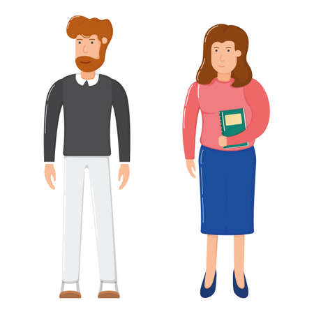 Concept woman with textbook and bearded man standing, hipster smiling people together cartoon vector illustration, isolated on white. Office modern worker, businessman and businesswoman secretary.