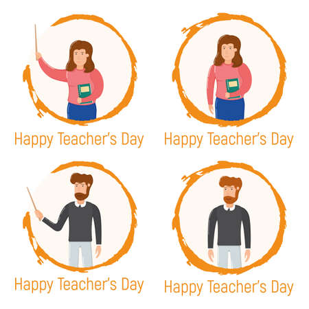 Concept happy teacher day holiday, male female standing hand drawn circle, school and university professor cartoon vector illustration, isolated on white. Smiling bearded man and woman hold textbook.